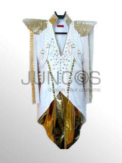 ケントモリ 白×ゴールドビジュー燕尾風スーツ