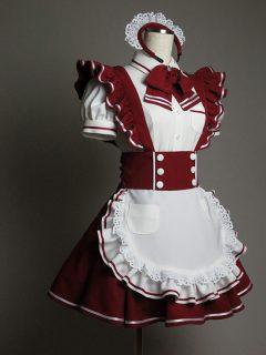 ボルドーカラーのメイド衣装