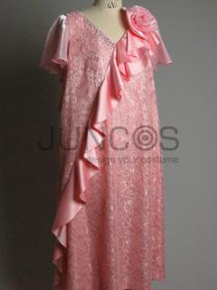 ピンクのひらひらワンピースドレス