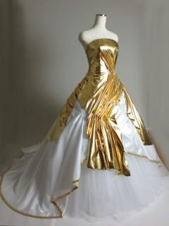 ゴールドドレープドレス