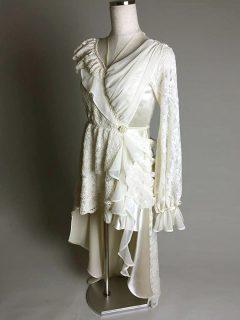 レーシーアシメトリーワンピースドレス