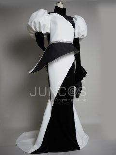 モノトーンアシメトリーマーメイドドレス
