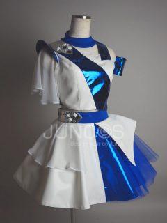 ブルーメタリックアシメトリーアイドル衣装